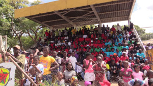 Part of crowds during International Workers' Day commemorations at Dzivarasekwa 1 Stadium